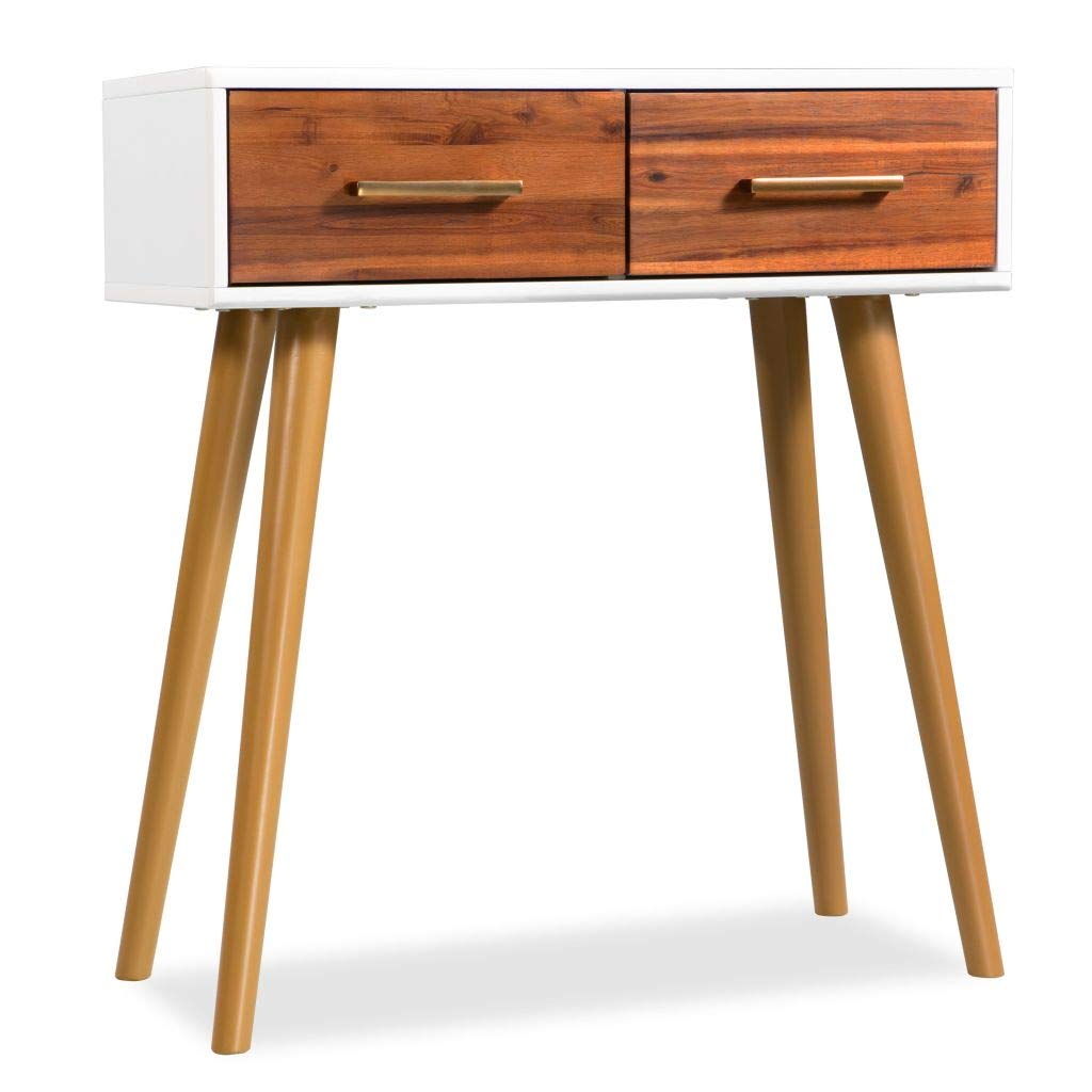 Festnight Console Table Solid Acacia Wood 70x30x75 cm