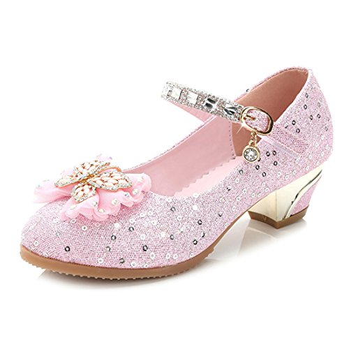 YIBLBOX Kids Girls Cute Glittering Sequin Princess Shoes Mary Jane Bowknot Butterfly Low Heel Dancing Shoes for Wedding Party -