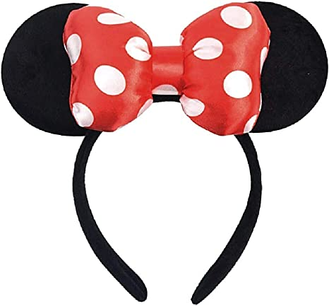 Diadema negra - orejas - ratón - minnie mouse - lazo suave ...