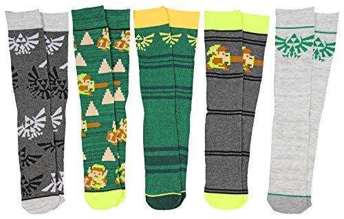 Bioworld The Legend of Zelda Casual Crew Socks (Pack of 5),10-13,Multi-color