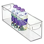 mDesign Baby Food Kitchen Refrigerator Cabinet Or Pantry Storage Organizer Bin with Handles for Pouches, Jars, Bottles, Formula, Juice Boxes, BPA Free, 16  x 4  x 5 , Clear