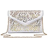 Mily Hollow Out Flower Envelop Clutch Chain Tote Shoulder Bag Handbag White
