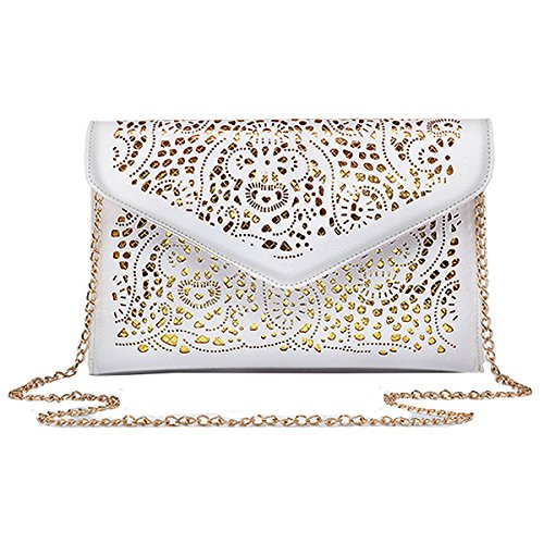 Meliya Shoulder Handbag Envelope Tote Evening Bag Bag Flower Hollow Chain Out Pu Women's Clutch White Leather vzrO4xv