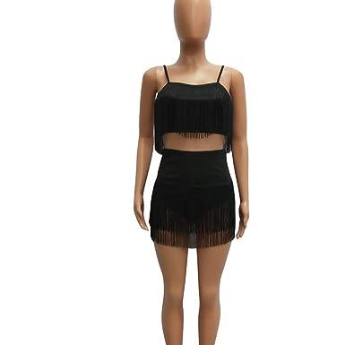 Amazon.com: Conjunto de 2 piezas para mujer sexy con borla y ...