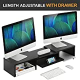 Adjustable Wood Dual Monitor Stand Riser with Pull Out Storage Drawer, 2 Tier Monitor Riser for Computers, Laptops, Printers,Desk Organizer,Black
