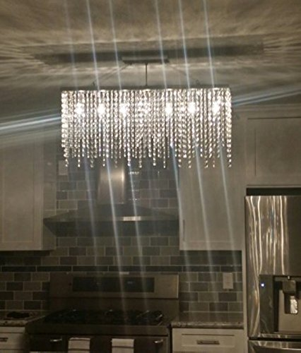 7pm modern linear rectangular island dining room crystal chandelier lighting fixture medium l32 amazoncom - Linear Dining Room Light Fixtures