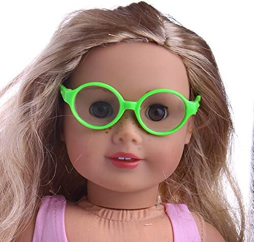 1 pieza de gafas con marco redondo para mu/ñecas American Girl de 18 pulgadas mini gafas coloridas mu/ñecas gafas miniatura accesorios mu/ñecas color: aleatorio elegantes gafas pl/ástico mu/ñecas