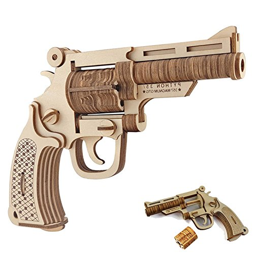 3D Wooden Puzzle, DIY Jigsaw Brain Teaser Toys of Revolver Gun Model, Good Gift for Kids ,Teens and Adults by (Make Wooden Toy Gun)
