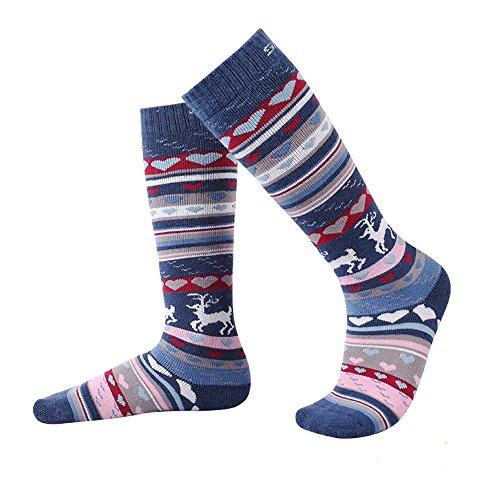 Kids Ski Socks Warm Skiing Snowboard Socks Merino Wool Outdoor Socks for Boys and Girls(Blue)