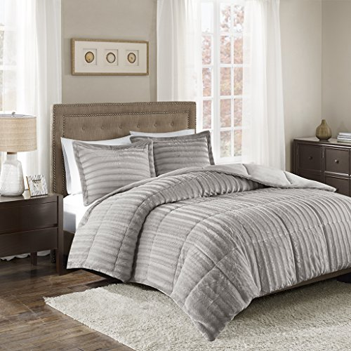 Madison Park Duke King/Cal King Size Bed Comforter Set - Grey, Solid - 3 Pieces Bedding Sets - Faux Fur Plush Bedroom Comforters