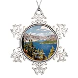 dokky J Tree Branch Decoration Crater Lake Oregon Personalized Snowflake Ornament