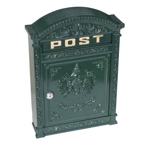 Briefkasten aus Aluguss im Nostalgie-Look, dunkelgrün