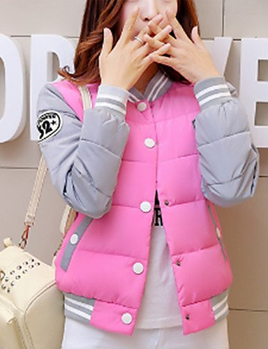 TT&SHANGYI Famous Brand Design Women's Regular Padded CoatSimple Casual/Daily Solid-Polyester Polyester Long Sleeve Stand Pink / Black / Yellow , l