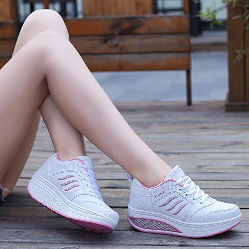 8 5 Running US5 White Jogging No Waiking Fashion 5 Town Sneakers Shoes Platform 66 Women's nB4qTS