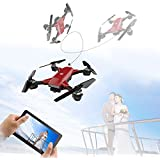 LUCKSTAR Mini Quadcopter - 2.4GHZ Remote Control UAV Aircraft Portable & Foldable RC Drone 3D Flip Quadcopter Headless Helicopter UAV - Cool Boys / Kids Toy (Red)