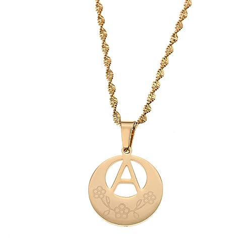 Amazon.com: A to Z letra collares inicial collar colgante de ...