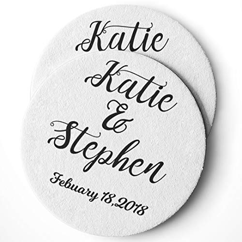 Personalized Wedding Drink Coasters Set of 25 - Custom Wedding Favors - Absorbent - Monogram