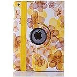 TGK® Flower Print Design 360 Degree Rotating Leather Smart Case Cover Stand (Auto Sleep/Wake Function) for Apple iPad 2, iPad 3, iPad 4 (A1458, A1459, A1460, A1416, A1430, A1403, A1395, A1396, A1397) - Yellow