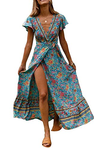 SALENT Women's Summer Boho Tie-Waist Floral Print Deep V Neck Long Maxi Dress (S, Long/Blue)