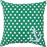 26'' Emerald Green and Lily White Polka Dots and Anchor Decorative Throw Pillow