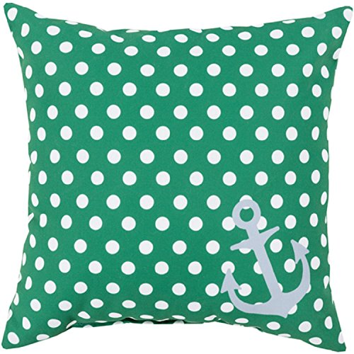 26'' Emerald Green and Lily White Polka Dots and Anchor Decorative Throw Pillow by Diva At Home