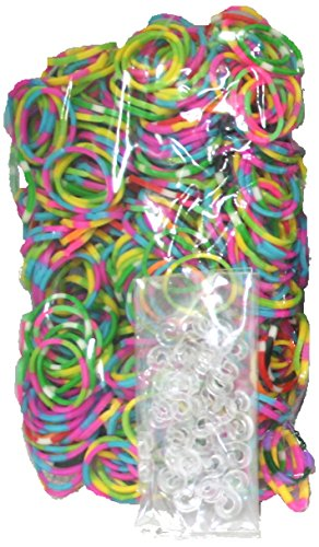 BlueDot Trading 1200-Piece Do-It-Yourself Bracelet Kit Refill Pack, Includes Rubber Band and S-Clips for Loom Art/Kids Craft with Rainbow, Tie Dye by Bluedot Trading