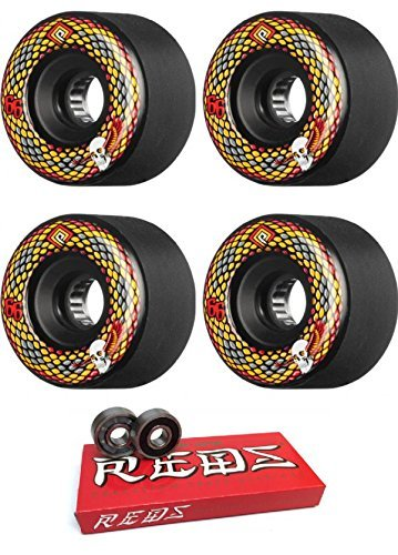 66 mm Powell Peralta Snakes Longboard Skateboard Wheels with Bones Bearings – 8 mmスケートボードベアリングBones Super Redsスケート定格 – 2アイテムのバンドル   B078Q5K96T
