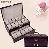 lzzfw Jewelry Box Christmas Gift Box Double Cortical Drawer With Lock Watch Box Jewelry Storage Box Cosmetic Box, B