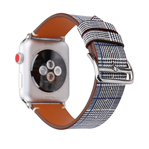 MeShow TCSHOW 42mm Tartan Plaid Style Replacement Strap Wrist Band Silver Metal Adapter Compatible Apple Watch Series 3 2 1(Not fit 38mm Apple Watch) (J) by MeShow