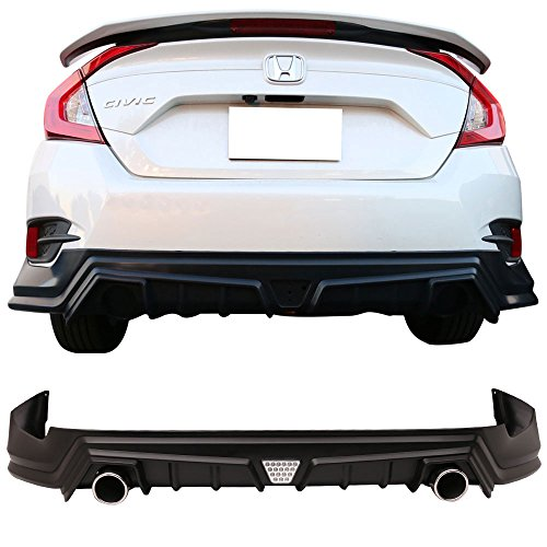Rear Diffuser With Led Brake Light And Exhaust Tip Fits 2016-2018 Honda Civic | Black PP 10th Gen Air Dam Chin Spoiler Lip by IKON MOTORSPORTS | 2017