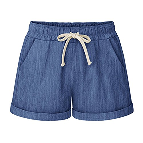 Pantaloni blu Donna Cordoncino con Loose Fit Vita M Pantaloni Elastica 6XL Casuale Tinta Shorts Comodi Unita Corti Moda rq81wr6T