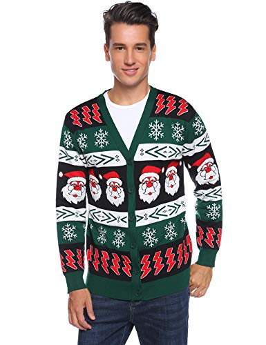 iClosam Mens Ugly Christmas Cardigan Sweater Santa Claus Snowflake Knitted Cardigans Button Down Knitwear
