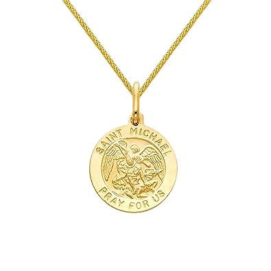Amazon 14k yellow gold religious saint michael medal pendant amazon 14k yellow gold religious saint michael medal pendant with 09mm braided wheat chain necklace 16 jewelry aloadofball Image collections