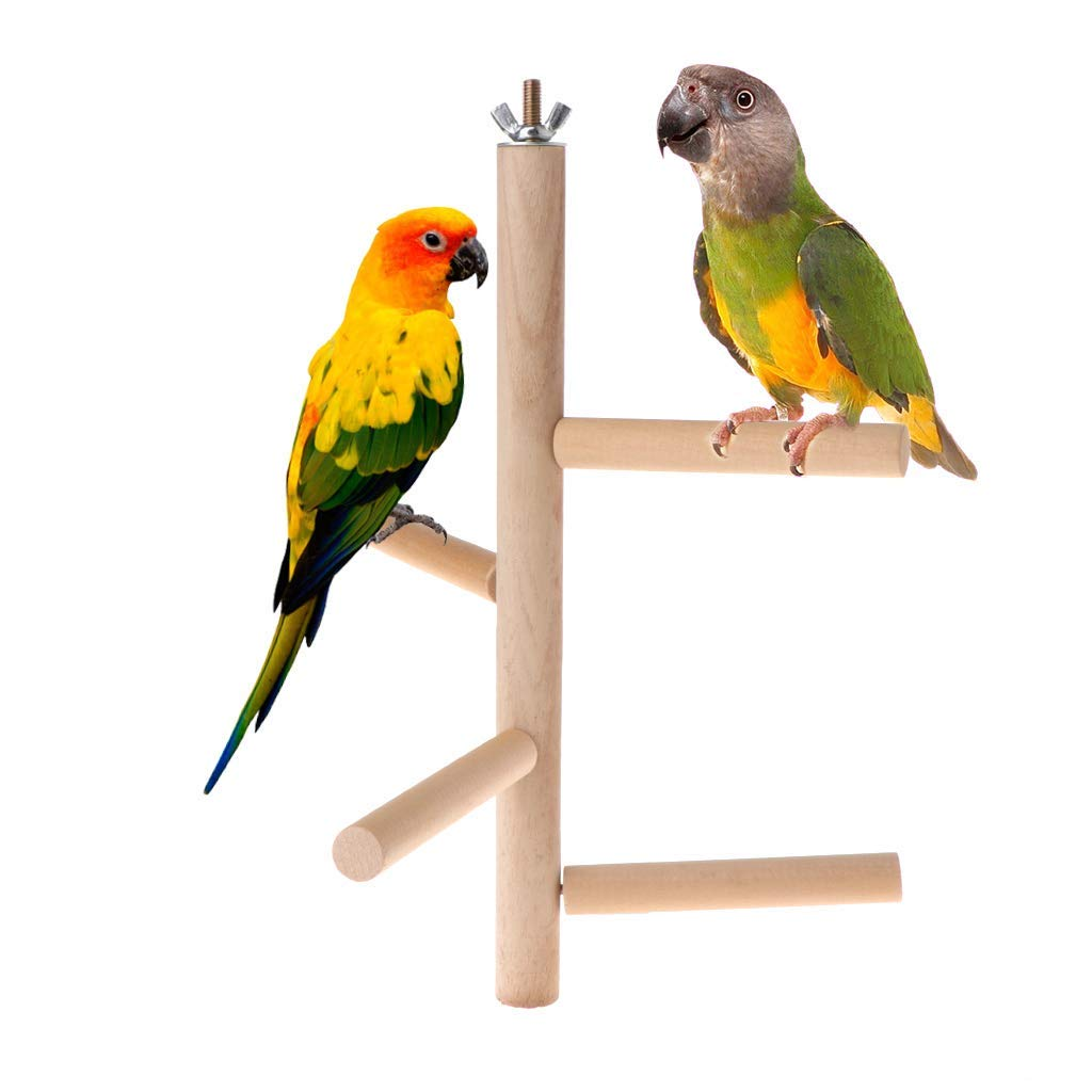 Parrot Perch 4 Layer Steps Toy Natural Wood Rotating Ladder Bird Parakeet Cage Premium Quality by Yevison