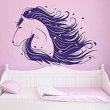 YuanMinglu Arte de la Pared del Caballo púrpura Animal Girl Vinilo Decorativo Mural Mural Sala de Estar Nursery Wall Sticker 63x43cm