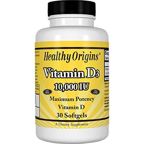Healthy Origins Vitamin D3 10,000 IU (Non-GMO), 30 Softgels