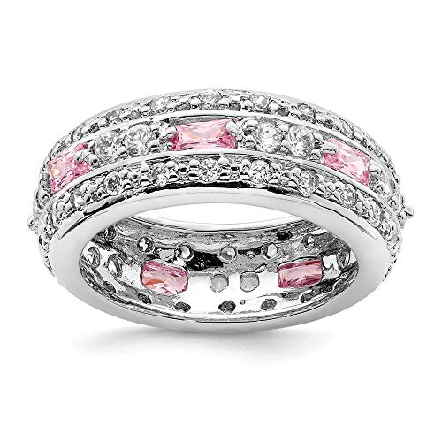(925 Sterling Silver Pink Clear Cubic Zirconia Cz Wedding Ring Band Size 6.00 Fancy Fine Jewelry Gifts For Women For Her)