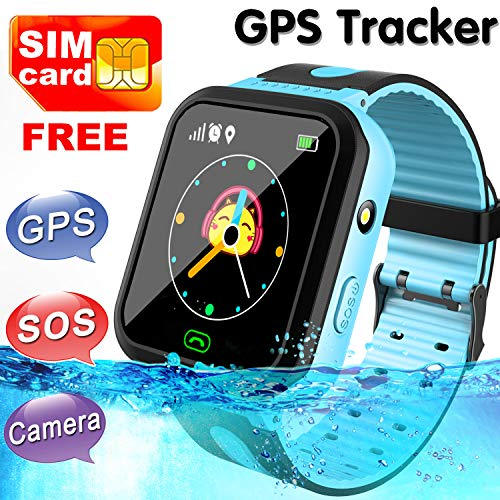 [SIM Card Included]Kids Waterproof Smart Watch Phone for Girls Boys - LBS/GPS Tracker Locator Touchscreen Smartwatch Games SOS Outdoor Digital Wrist Cellphone Watch for Christmas Birthday Gifts (Blue)