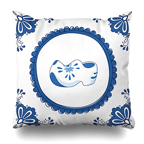 Ahawoso Throw Pillow Cover Square 18x18 Inches Old Dutch Delft Blue Pair Cloggs Typical Fashioned Vintage Shoe Wooden Clog Flower Holland Greeting Cushion Case Home Decor Pillowcase