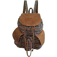 Mochila Feminina grande em tecido Étnica com bolsos laterais