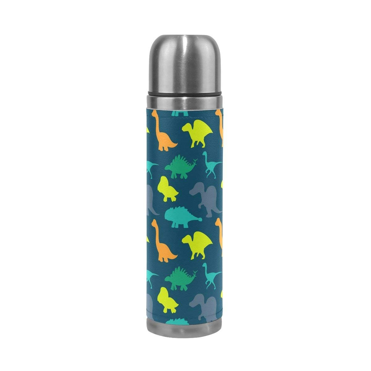 Thermos 17.5 oz Kids Adults Cute Animal Dinosaur Custom Water Bottle Double Wall Vacuum Insulated Stainless Steel Canteen with PU Leather
