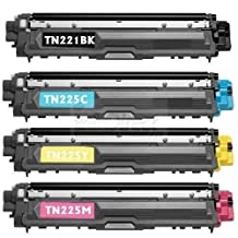 Ink & Toner 4 You ® Compatible Laser Toner Cartridge Set for Brother TN-221 & TN-225 Works With Brother HL-3140CW HL-3170CDW MFC-9130CW MFC-9330CDW MFC-9340CDW - TN-221BK Black TN-225C Cyan TN-225M Magenta TN-225Y Yellow