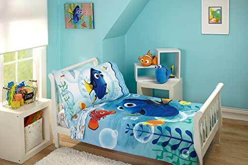 Nursery Bed Linens (Disney Finding Dory Bubbles 4 Piece Toddler Bedding Set)