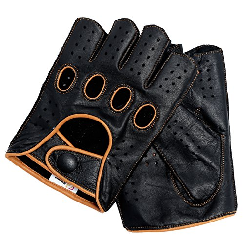 Riparo Mens Genuine Leather Reverse Stitched Half-Finger Driving Motorcycle Gloves (3X-Large, Black/Cognac) by Riparo