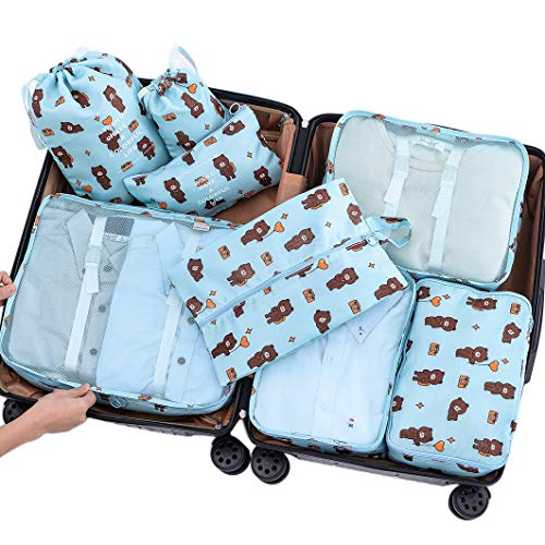 Belsmi 8 Set Packing Cubes - Waterproof Travel Luggage Organizer With Shoes Bag (2 Bear)