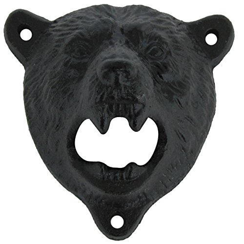 Cast Iron Wall Mount Grizzly Bear Teeth Bite Bottle Opener (Black)