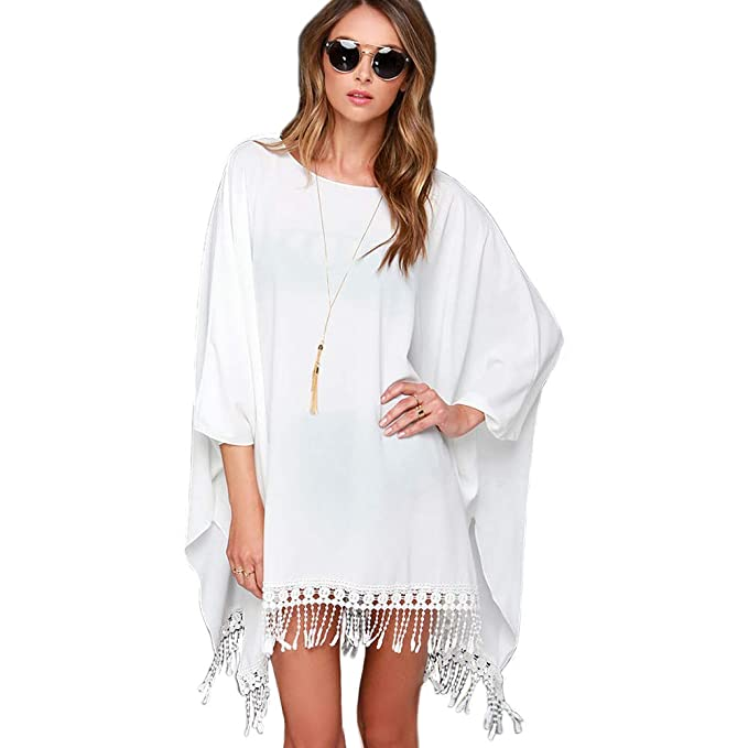 4c3dda6a79 Zoye Chen Women's Swimsuit Cover up, Pom Pom Trim Kaftan Chiffon Swimwear  Summer Bathing Suit Beach Coverups for Women (White) at Amazon Women's  Clothing ...