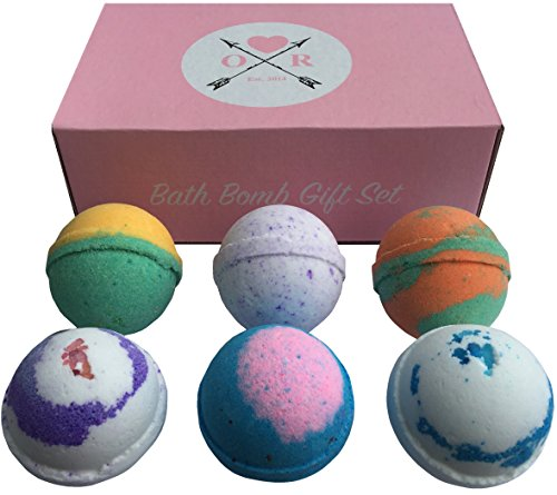 Oliver Rocket 6 Organic Scents Bath Bomb Set, Extra Large 4.5 ounces Per Bath Fizzy