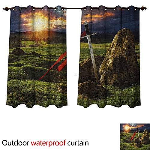 - Anshesix King 0utdoor Curtains for Patio Waterproof Arthur Camelot Legend Myth in England Ireland Fields Invincible Myth Image W108 x L72(274cm x 183cm)