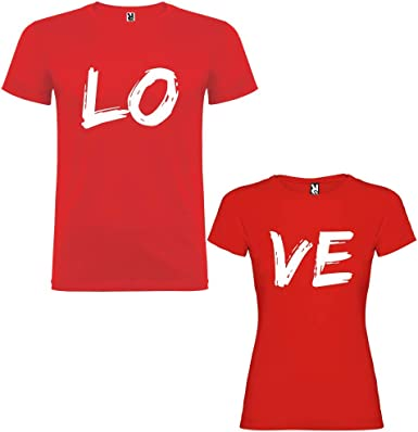 Pack de 2 Camisetas Rojas para Parejas Love Blanco: Amazon.es ...